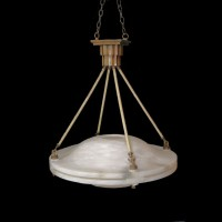 Art Deco Alabaster Double-Dome Chandelier