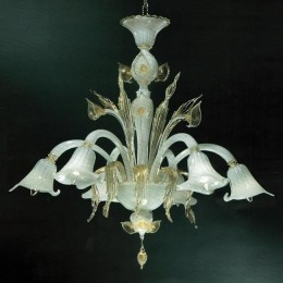 Murano Glass Lily Flower Chandelier with 24kt Gold Foliage