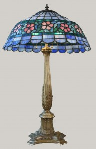 Antique American Lamp with Glass Flower Shade
