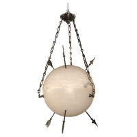 Contemporary Alabaster Sphere Chandelier with Arrows