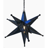 Brass Glass Star Lantern Chandelier