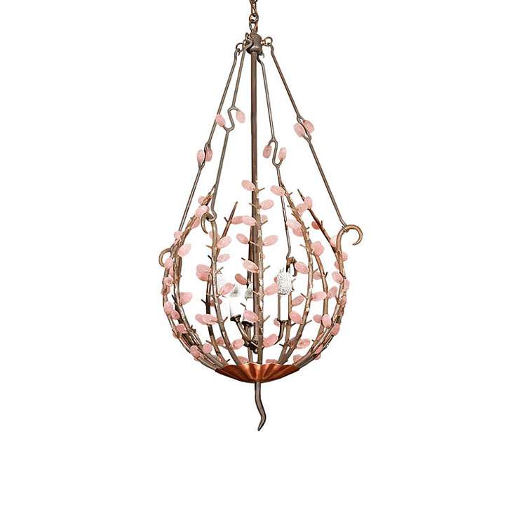 Andre Dubreuil Wrought Iron Rock Crystal Chandelier Custom - Chandelier crystals pink