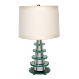 Art Deco Modernist Glass Pyramid Table Lamp
