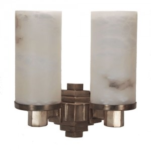 Tiered Bronze and Alabaster Deco Sconce