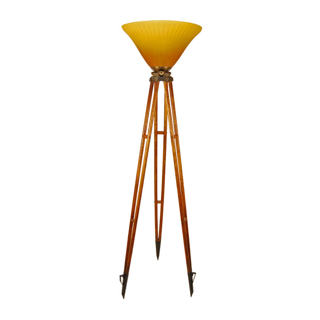 Antique Engineer S Tripod Floor Lamp With Art Glass Shade
