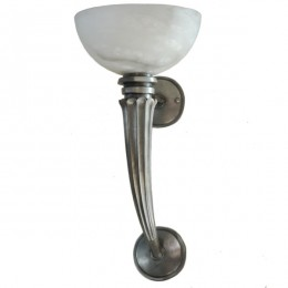 Art Deco Bronze Torchiere Sconce with Alabaster Shade