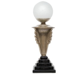 Scrolled Art Deco Bronze Table Lamp with Marble Pyramid Base