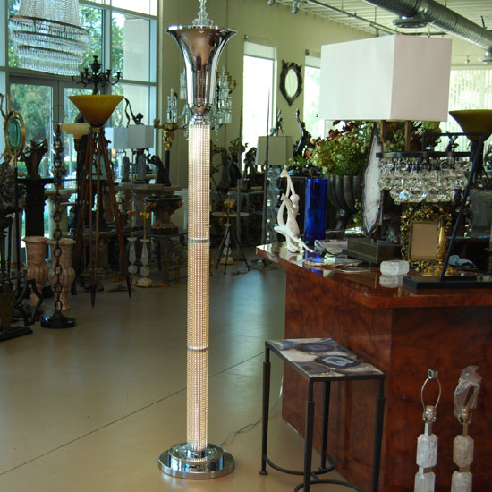 Art Deco Glass Rod Torchiere Floor Lamp With Led Lights