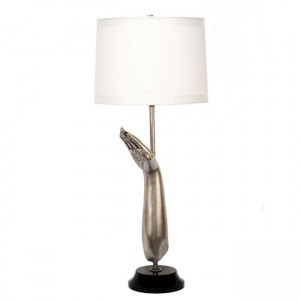 Hindu Lotus Ying Yang Bronze Table Lamp