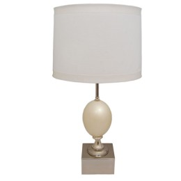 Modern Large Genuine Ostrich Egg Silver Table Lamp