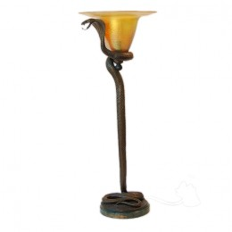 Art Deco Edgar Brandt Style Bronze Snake 3-Foot Table-Floor Lamp