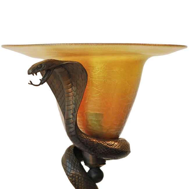 Art Deco Edgar Brandt Snake Table Floor Lamp