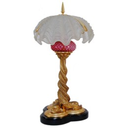 Bradley & Hubbard Art Nouveau Dolphin Table Lamp with Clam Shell Shades