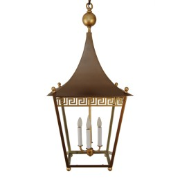 Contemporary Greek Key Pagoda Lantern Chandelier