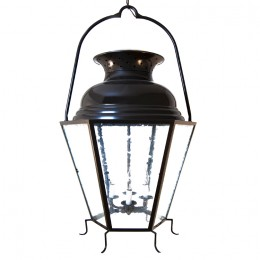 Large Hanging Six Faceted Lantern with Vented Double-Dome Top