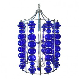 Modern Cobalt Blue Blown Art Glass Ball Chandelier