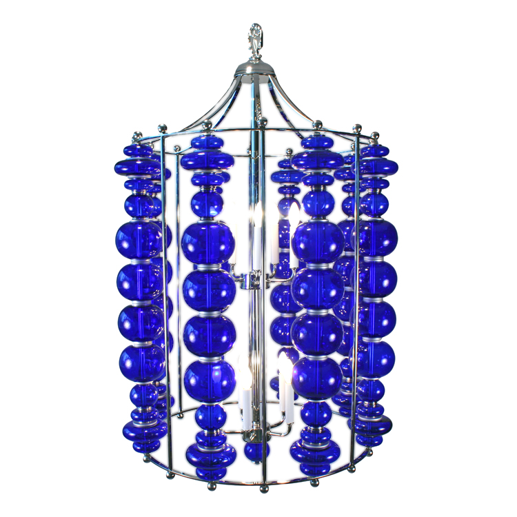 Modern Cobalt Blue Blown Art Glass Ball Custom Chandelier