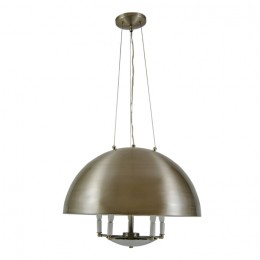 Modern Spun Aluminum Dome Chandelier with Brushed Nickel Finish