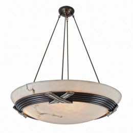 "Contemporary Bronze ""X"" Chandelier with Alabaster Style Dome Shade"