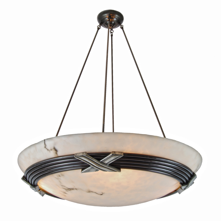 "Contemporary Bronze ""X"" Chandelier Lighting With Faux"