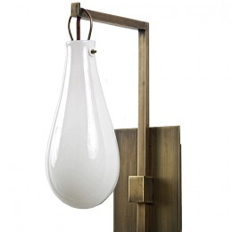 Modern Brass Sconce with Mouth-Blown Art Glass Balloon Shade