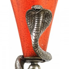 Edgar Brandt Silver Snake Lamp Head
