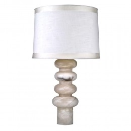 Art Deco Contemporary Stacked Alabaster Shperoidal Table Lamp