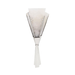 Art Deco Silver Dovetail-Ribbon Sconce with Alabaster Shades