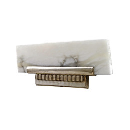 Ruhlmann Art Deco Antique Silver Bronze Alabaster Angled-Shelf Wall Sconce