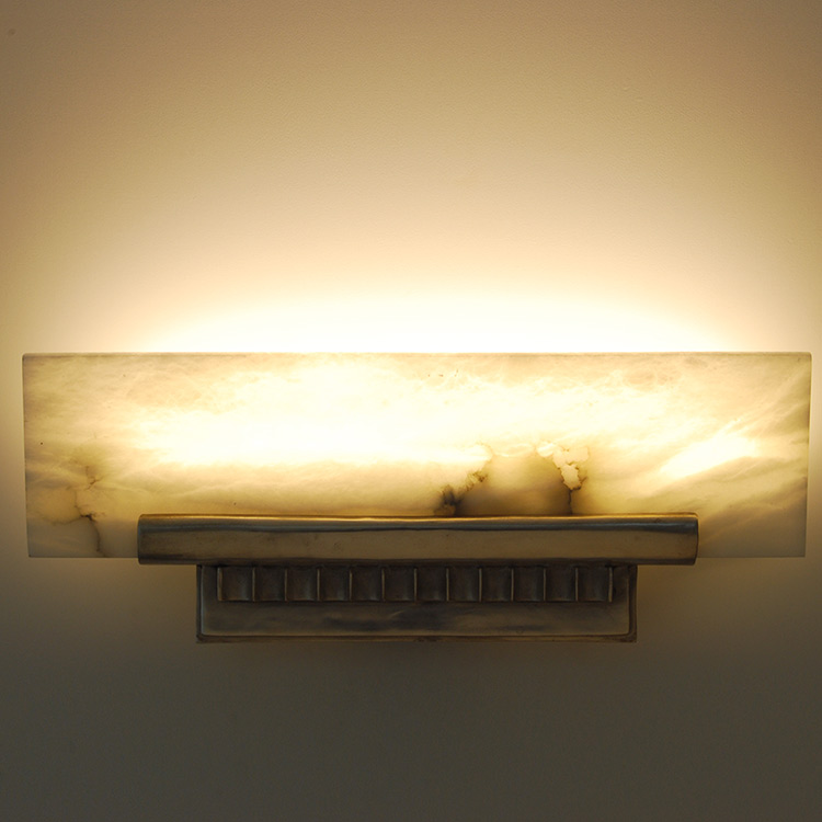 Art Deco Ruhlmann Shelf Sconce with Alabaster Shade Light | ADD ...
