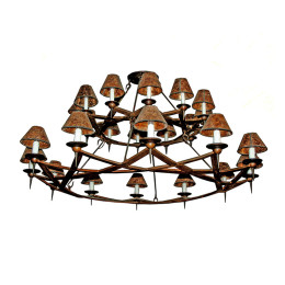 Contemporary Rustic 24-Light Wrought Iron Chandelier
