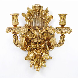 Neoclassical Bronze 24KT Gold Dore Dionysus (Bacchus)  Candelabra Wall Light