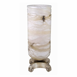 Art Deco Ruhlmann Alabaster & Silver Bronze Luminous Urn Light