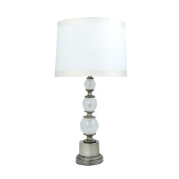 Art Deco Brazilian Rock Crystal Sphere & Silver Bronze Table Lamp