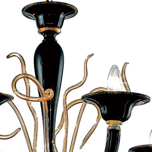 Modern-Black-and-Gold-Murano-Glass-Chandelier-24kt-Detail