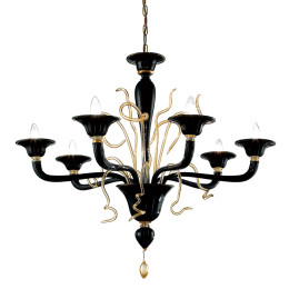 Modern Black & Gold Murano Glass Chandelier