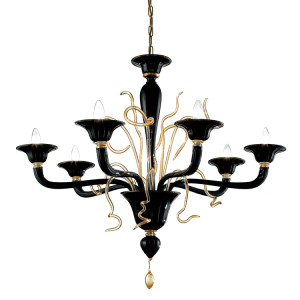 Modern Black Murano Glass Chandelier with Gold Dust