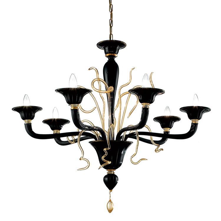 Modern black gold murano glass chandelier lighting add custom modern black murano glass chandelier with gold dust aloadofball Choice Image