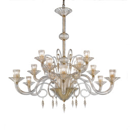 Modern Gold Murano Glass Chandelier with Ribbed Ornaments