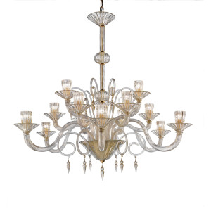 Modern-Murano-15-Light-Clear-and-Gold-Chandelier-with-Diamon-Drops