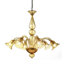 Modern Amber Murano Glass Chandelier with Trumpet Shades
