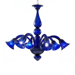 Modern Blue Murano Glass Chandelier with Trumpet Shades