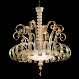 Modern Opaque & Gold Murano Glass Chandelier
