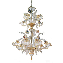 Murano Glass Chandelier with Clear & Gold Bell Shades
