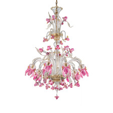 Two Tier Pink Iris Murano Glass Chandelier