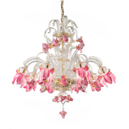 Murano Glass Chandelier with Pink Iris Flower Shades