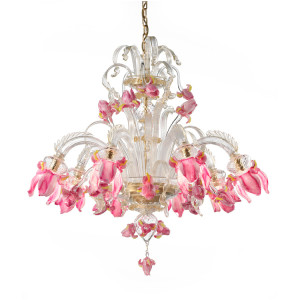 Pink Iris Flower Murano Glass Chandelier