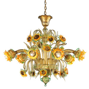 Murano Glass Sunflower Chandelier