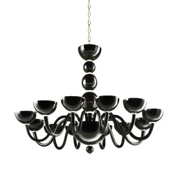 Modern Black Murano Glass Chandelier