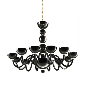 Modern Murano Chandelier with Black Glass